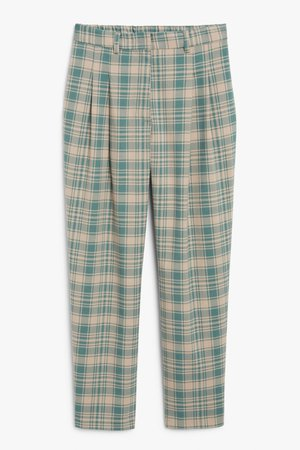 Straight leg trousers - Beige and green check - Trousers - Monki