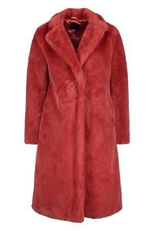 Revere Collar Faux Fur Coat | Boohoo rose