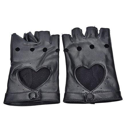 PU Leather Heart Semi finger Gloves Hip hop Black Cutout Sexy Fingerless Gloves Girls Performance Dancing Gloves|Women's ...