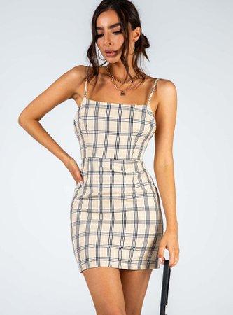 Rumour Mill Mini Dress Tan