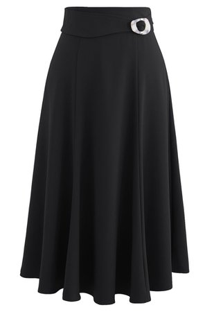 Marble Buckle Belted Flare Midi Skirt in Black - Retro, Indie and Unique Fashion