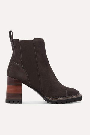 Suede Ankle Boots - Brown