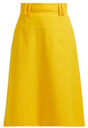 High Waist Twill Midi Skirt - Womens - Yellow