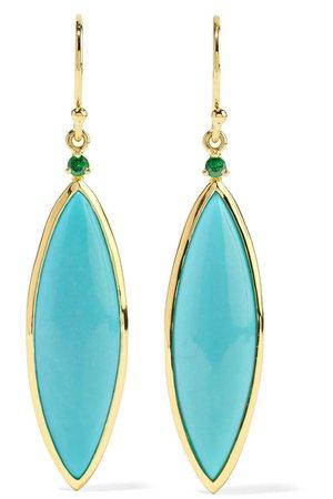 Ippolita | Prisma 18-karat gold, turquoise and tsavorite earrings | NET-A-PORTER.COM