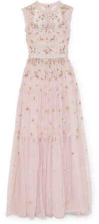 Rainbow Ditsy Embellished Tulle Gown - Pink