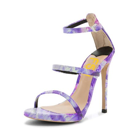 Lavender Floral Heels Open Toe Stiletto Heels Sandals by FSJ for Work, Music festival, Date, Going out   FSJ