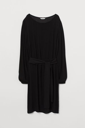 Dress with Tie Belt - Black
