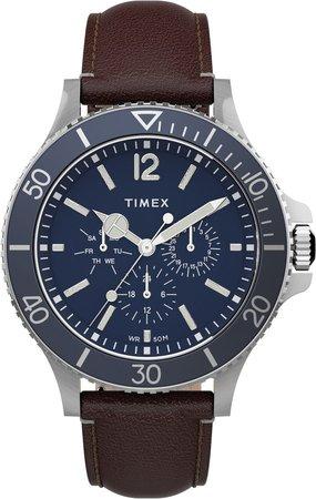 Harborside Leather Strap Watch, 42mm