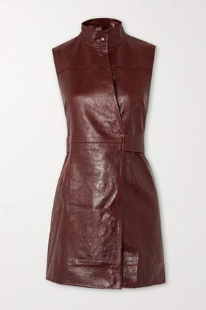 Leather Wrap Mini Dress - Brown