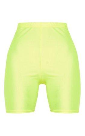 Yellow Neon Cycling Shorts   Shorts   PrettyLittleThing