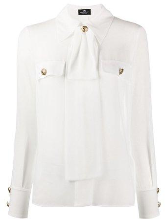 Elisabetta Franchi Bow-Neck Long Sleeved Blouse | Farfetch.com