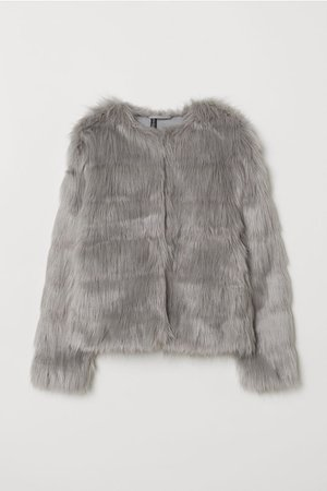 Short Faux Fur Jacket - Light gray - Ladies | H&M US