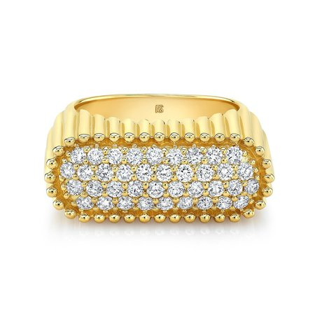14k Yellow Gold Diamond Fluted Signet Ring - RINGS - SHOP