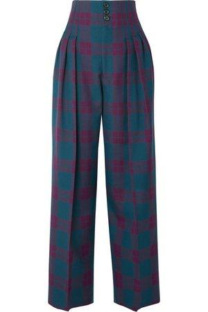 Marc Jacobs | Pleated tartan wool wide-leg pants | NET-A-PORTER.COM