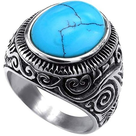 Men's Classic Vintage Turquoise Biker Stainless Steel Ring Band Silver Blue|Amazon.com