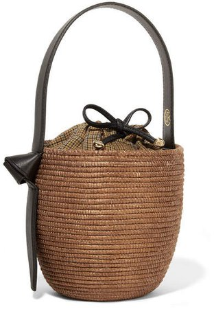 Cesta Collective - Lunchpail Leather-trimmed Woven Sisal Bucket Bag - Brown