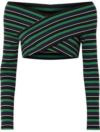 Cropped Off-the-shoulder Striped Ribbed Stretch-cotton Top - Green