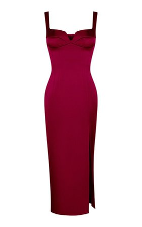Satin Midi Dress With Stitching By Rasario | Moda Operandi