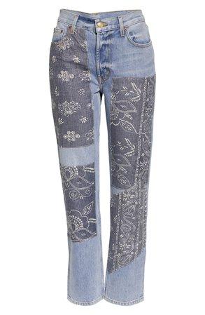 B SIDES Arts Vintage Floral Patchwork Straight Leg Jeans (Nordstrom Exclusive) | Nordstrom