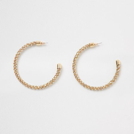Gold tone hoop earrings | River Island