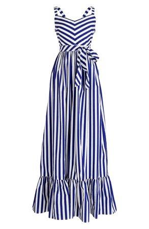 J.Crew Stripe Ruffle Cotton Maxi Dress white