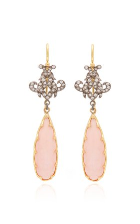 22K Gold Pink Opal Victorian Earrings by Arman Sarkisyan | Moda Operandi