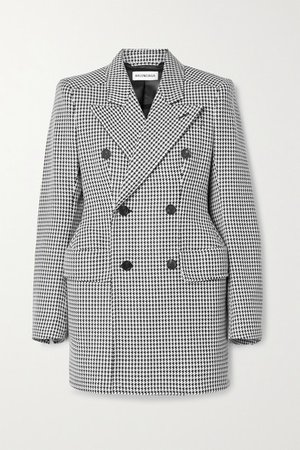 Hourglass Double-breasted Houndstooth Wool-blend Blazer - Black