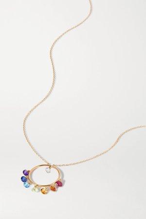 Gold 18-karat gold multi-stone necklace   Persée   NET-A-PORTER