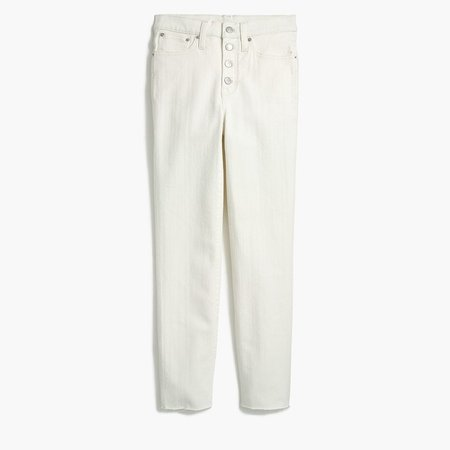 Vintage straight jean in white denim with button fly