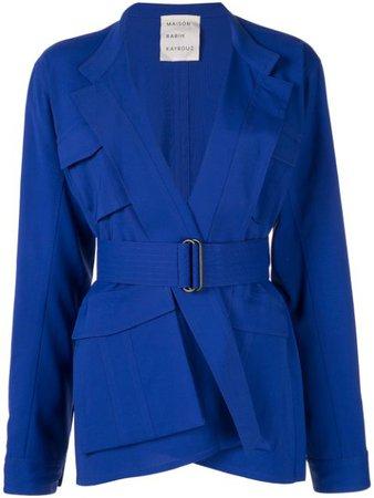 Blue Maison Rabih Kayrouz Belted Utility Jacket | Farfetch.com