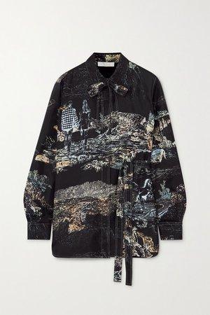 Printed Silk-twill Blouse - Black