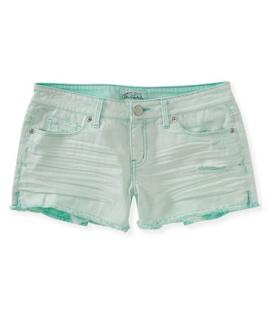 Mint-Green Denim Shorts