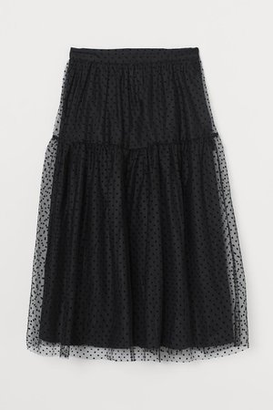 Calf-length Mesh Skirt - Black - Ladies | H&M US