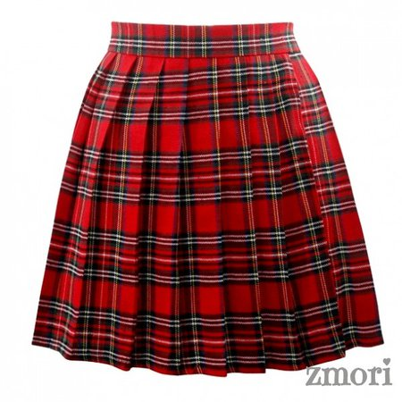 Red Plaid Tartan Scotland Checkers Lolita Cosplay Pleated A Line Mini Skirt