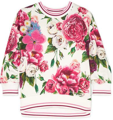 Embellished Appliquéd Floral-print Cotton-blend Jersey Sweatshirt - Pink