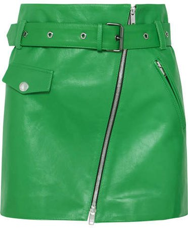 Zip-embellished Belted Leather Mini Skirt - Green