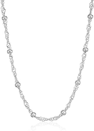 "Amazon.com: Amazon Essentials Sterling Silver Singapore Bead Chain Station Necklace, 14"": Jewelry"