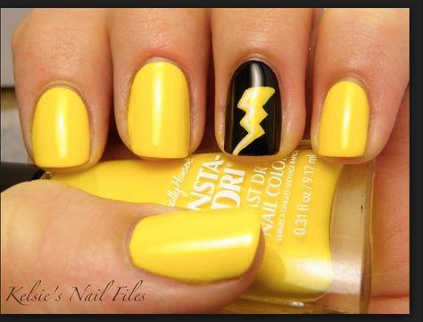 Lightning bolt nails | nailart in 2019 | Yellow nails design, Yellow nail art, Yellow nail polish