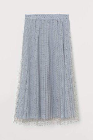 Pleated Tulle Skirt - Blue