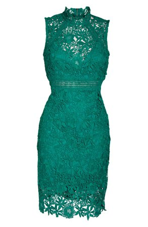 Bardot Paris Lace Body-Con Cocktail Dress green
