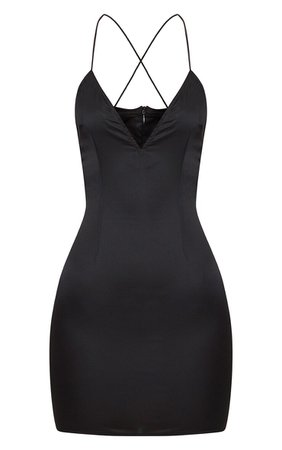 *clipped by @luci-her* Black Strappy Satin Slip Dress   PrettyLittleThing USA