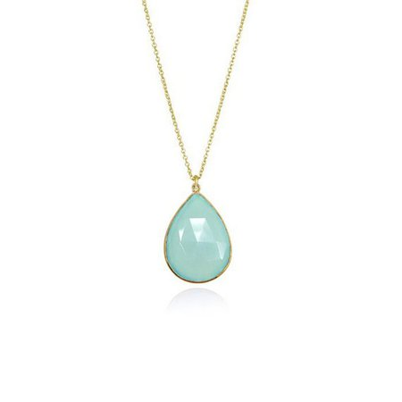 Aqua Chalcedony Necklace - Sea Green Gemstone Necklace - Bridesmaid Necklace - Bridal Jewelry - Tear Drop Necklace - Bezel Set Necklace