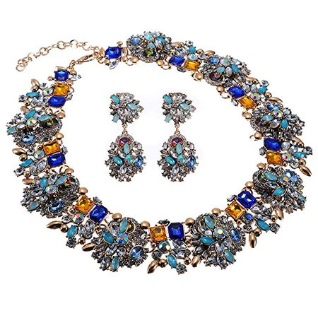 Amazon.com: Crystal Rhinestone Statement Necklace, Vintage Chunky Chain Choker Collar Bib Statement Necklace Fashion Costume Jewelry Necklaces for Women: Jewelry