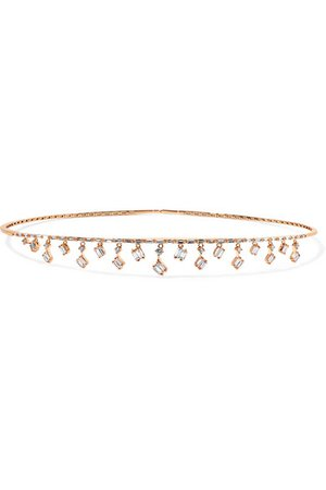 Suzanne Kalan | Dangle 18-karat rose gold diamond choker | NET-A-PORTER.COM