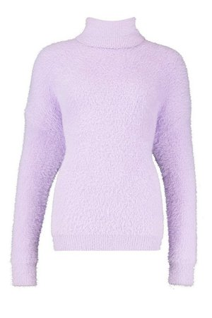 Oversized Fluffy Feather Knit Jumper Purple| Boohoo