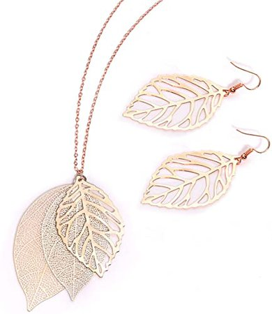 Amazon.com: NVENF Leaf Necklaces and Earrings Jewelry Set for Women Large Leaves Veins Pendant Tiered Necklaces and Modern Woodland Drop Stud Earring Fall Spring Theme Gift (A Rose Gold & Silver): Clothing