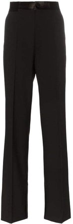 Wide leg wool and mohair blend tuxedo trousers