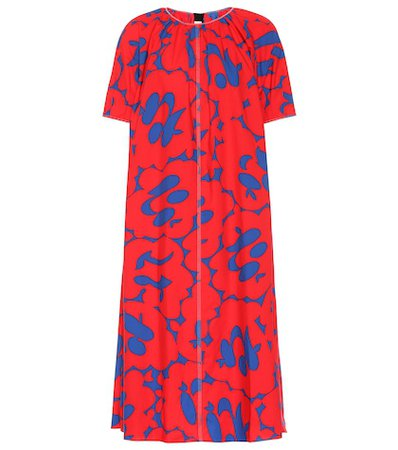 Printed cotton midi dress