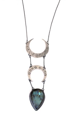 Crescent moon necklace with labradorite and hidden bat detail | Lunaria jewellery