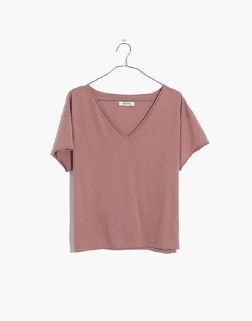 Supima® Cotton Drapey V-Neck Crop Tee pink